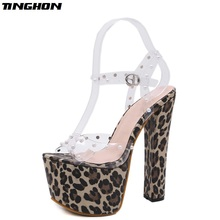 TINGHON Sexy Woman Buckle Strap Leopard  Sandals Party shoes Nightclub Stage Square heel 17cm Shoes Summer Woman Sandals Shoes summer sandals sexy party shoes woman 6 cm