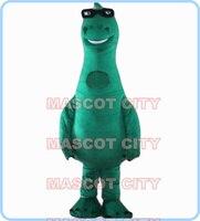 Талисман в тайском стиле с зеленым динозавром, одежда мультяшный талисман костюм с солнцезащитными очками взрослый размер Big Dragon Дино темат