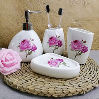 Ceramic bathroom 4pcs sanitary ware products rose pattern bathroom accessories lotion bottle tumbler soap dish mouth cup gift