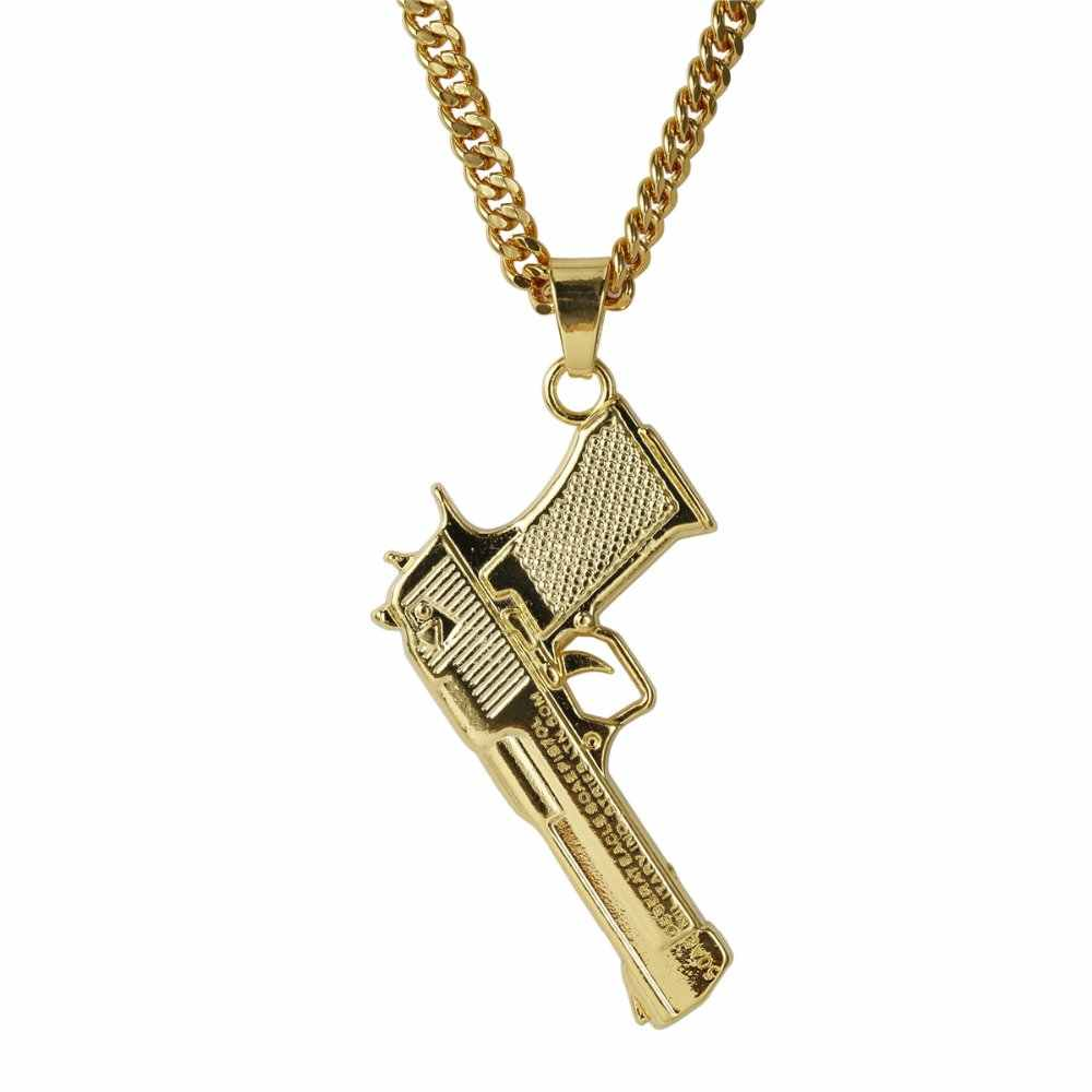 30inch Mens Women Iced Out Bling Pistol GUN Pendant Necklaces Punk Golden Chokers Hip Hop Jewelry Cuban Chains