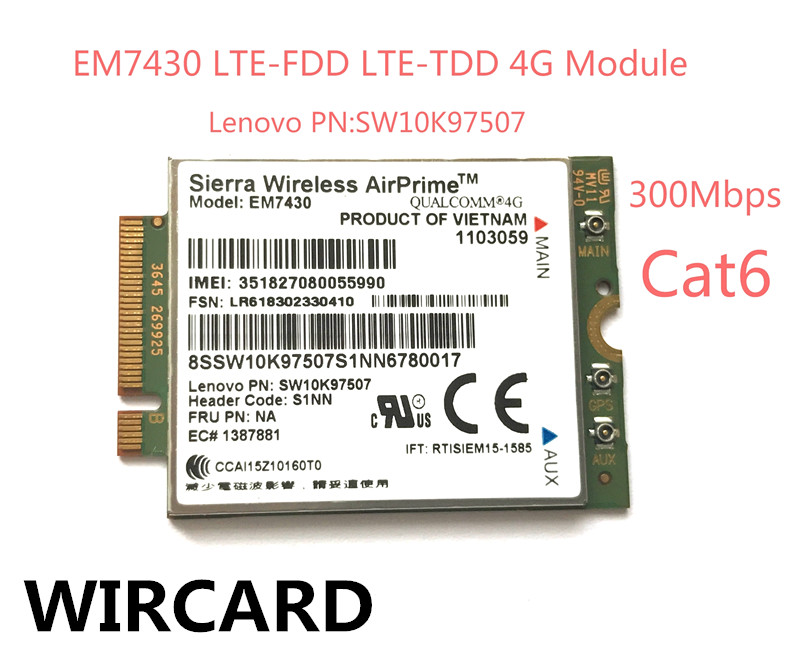 Sierra EM7430 FDD/TDD LTE 4G Module WCDMA GNSS 4G Card for Thinkpad X270 X1 Carbon 5th gen(20HQ, 20HR) X1 YOGA X1 Tablet Gen 2 цена 2017