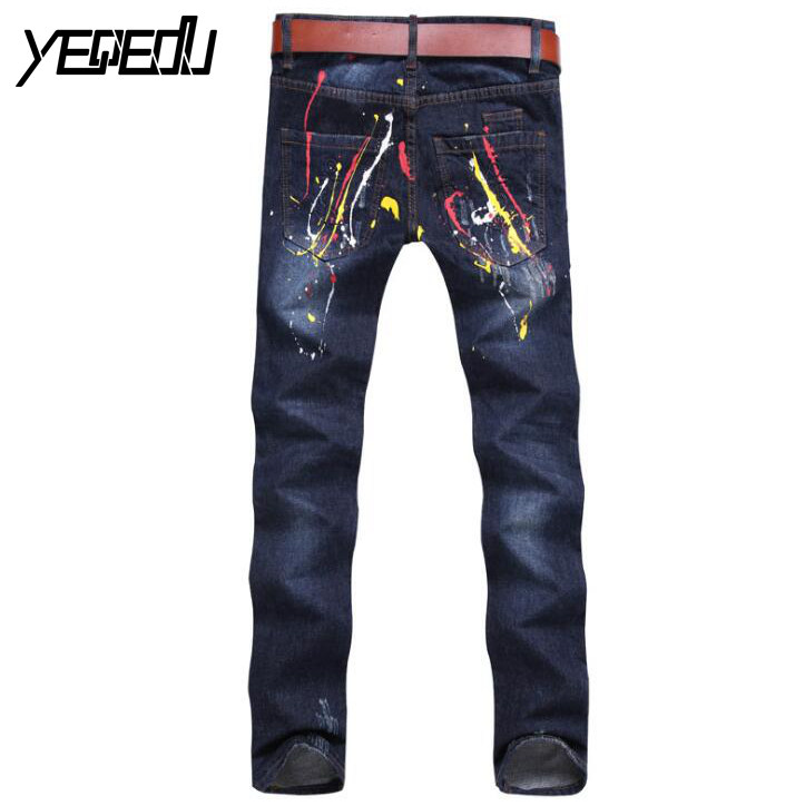 #3424 Printed Ripped jeans men Biker denim Mens jeans Slim straight Destroyed Distressed ripped jeans for men Fashion Jogger 2017 fashion patch jeans men slim straight denim jeans ripped trousers new famous brand biker jeans logo mens zipper jeans 604