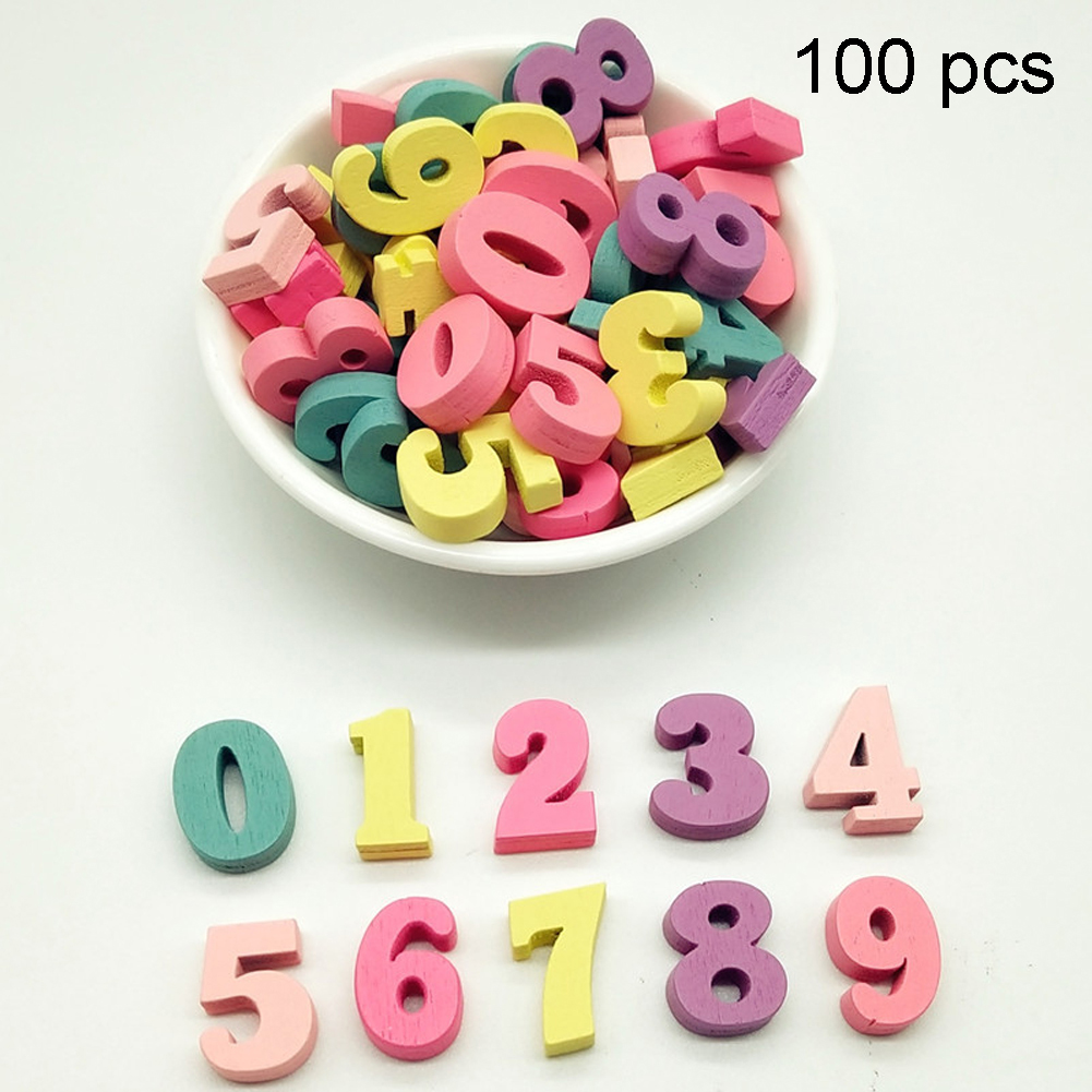 100Pcs Block 15mm Alphabet Decoration Home Gift Multi-coloured Numbers Party Word DIY Wooden Letters Handmade Craft Mixed