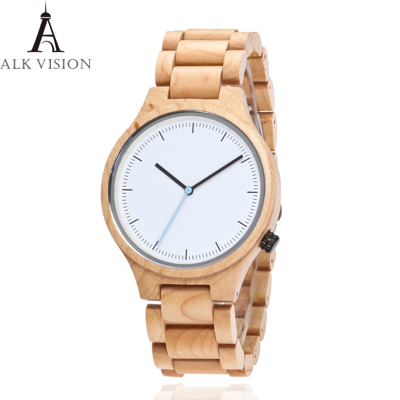 ALK VISION Nature Maple Men Watches For Women Simple Wooden Dial Face Wood Band Quartz Watch For Lover Relogio Feminino
