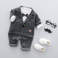 High Quality Boys Handsome Clothing 3 Pcs Set Children Gentleman Bowknot Two Piece Sweater Striped Pants