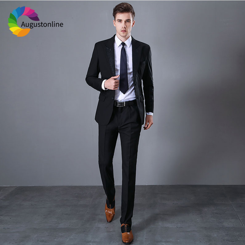 Black <font><b>Men</b></font> <font><b>Suits</b></font> Business <font><b>Wedding</b></font> <font><b>Suits</b></font> Groom <font><b>2018</b></font> Gentleman Slim Fit Formal Custom Tailored Tuxedo Blazer 2Piece <font><b>Terno</b></font> Masculino image