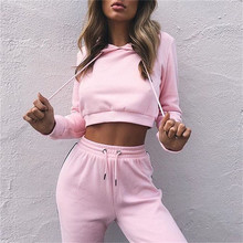 Pink Women's Tracksuits Sport Suits Sweatshirt and Pants 2 Pcs Set Women Gym Fitness cappa Jogging Suits Ladies 2018