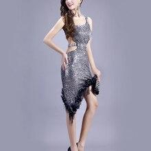 Ladies Silver Sequins Latin Dance Dress Single Shoulder Backless Tango Cha-cha Dancing Dresses Ballroom Clubwear TL154