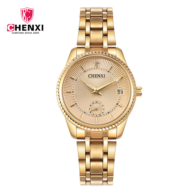 Luxury Women Gold Watch CHENXI Brand Stainless Steel Calendar 30 Meter Waterproo