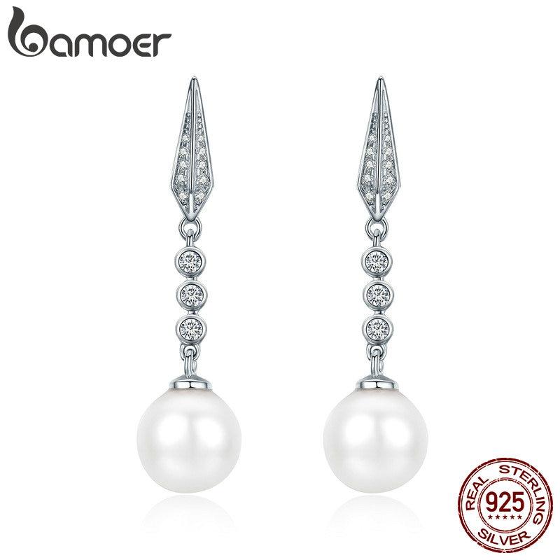 BAMOER Genuine 100% 925 Sterling Silver Glittering CZ Geometric Drop Earrings for Women Valentine Day Jewelry Brincos SCE276 vicolo платье длиной 3 4