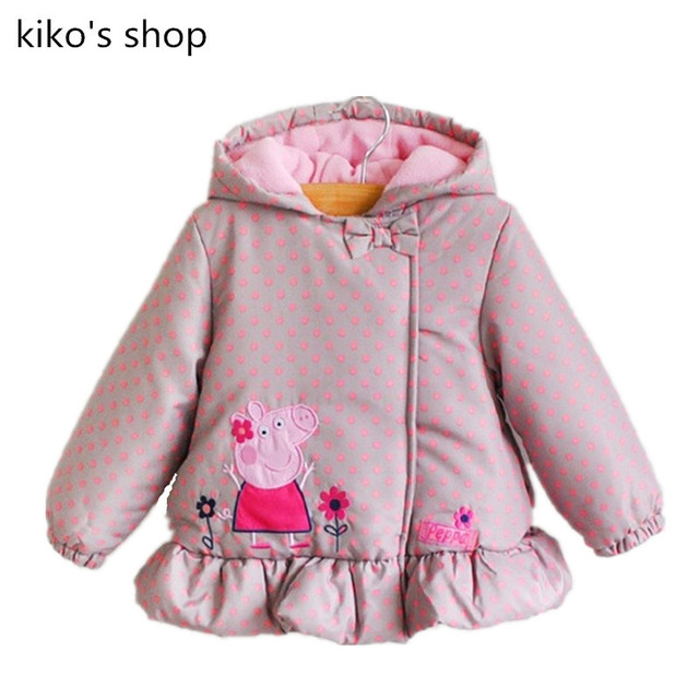 80 - 120 см высота девочки теплая зима детские марка пальто детская мода розовый молния куртка с капюшоном толстые мультфильм воланами пальто