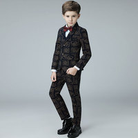 High quality Children's suit printing spring and autumn Korean boy suit suit student costumes children wedding flower girl dress