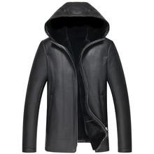 Natural fur coats men hot thick winter coat sheep fur jacket with hood coat