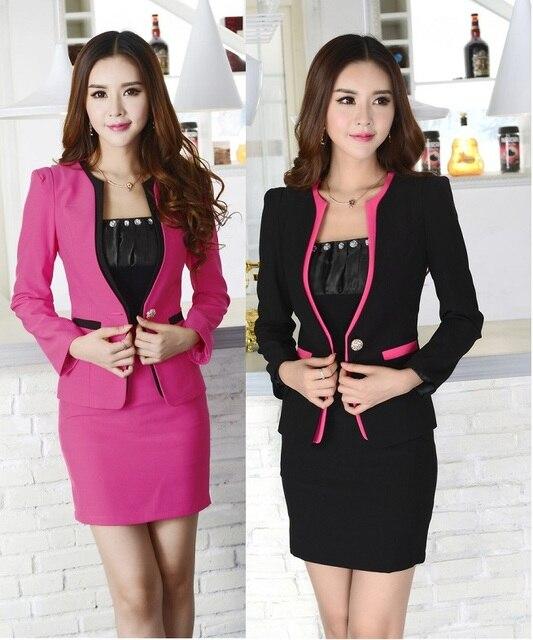 New elegante preto Plus Size 4XL 2015 moda primavera outono ternos de saia das mulheres uniforme Blazer define ternos desgaste do trabalho profissional