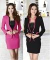 Nueva elegante negro Plus tamaño 4XL 2015 moda primavera otoño mujeres de los juegos de falda uniforme Blazer establece profesional trajes del desgaste del trabajo