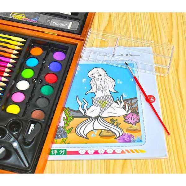 Image 4 - 150 個魔法 1 ボックス水彩画ペンリードクレヨンワックススティック木製ボックスアートセット絵画学習ツール子供のギフトマーカーペン   -