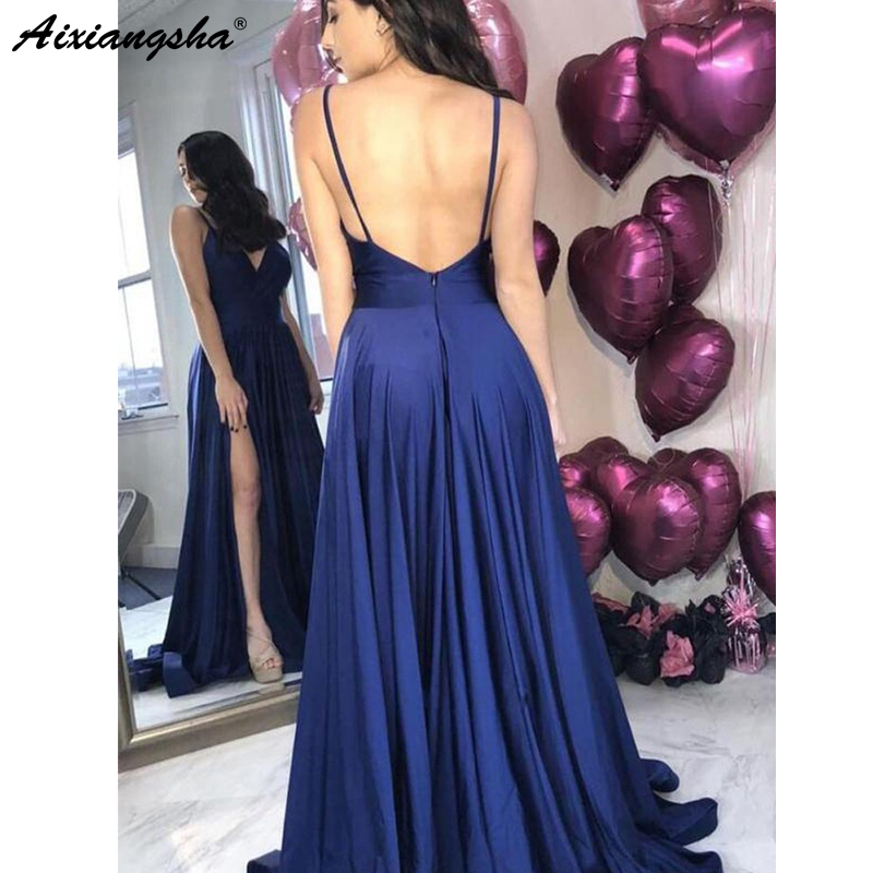 Royal Blue Prom Dresses 2019 V-Neck High Slit Backless Satin A-Line Party Maxys Long Prom Gown Evening Dresses Robe De Soiree