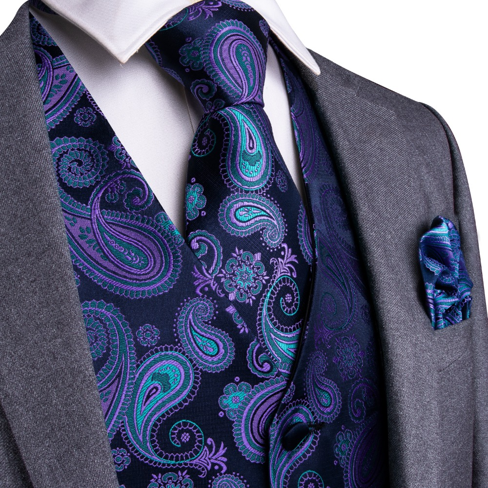 Gold and Purple Black EUC Paisley Print Formal Vest and Tie Set