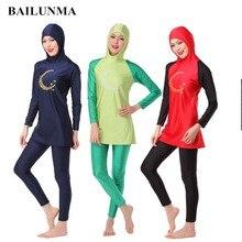 Дамы Полное покрытие Буркини мусульманский с капюшоном купальник для мусульман женские купальники сёрфинга Костюмы Арабский ислам скромный купальный костюм с хиджабом B10G