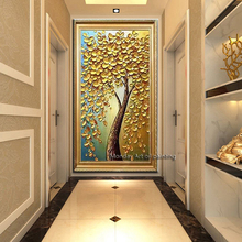 Large best Hand painted thick Knife Flower Oil Paintings  3D golden tree oil Wall pictures on Canvas for living Room