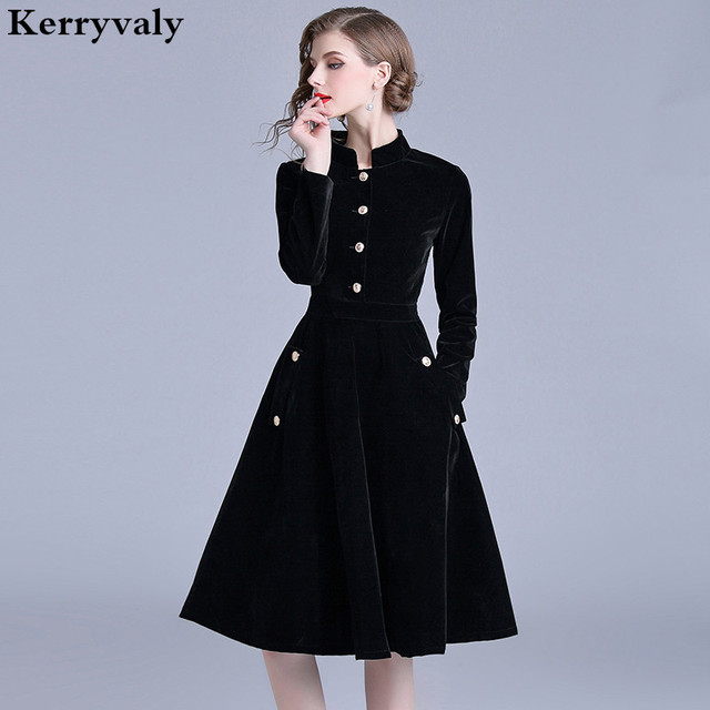 d89f8bb379e1 Robe Vintage Velvet Black Office Dress Long Sleeves Winter Womens Dresses  New Arrival 2019 Midi Party Dress Zomer Jurk K307