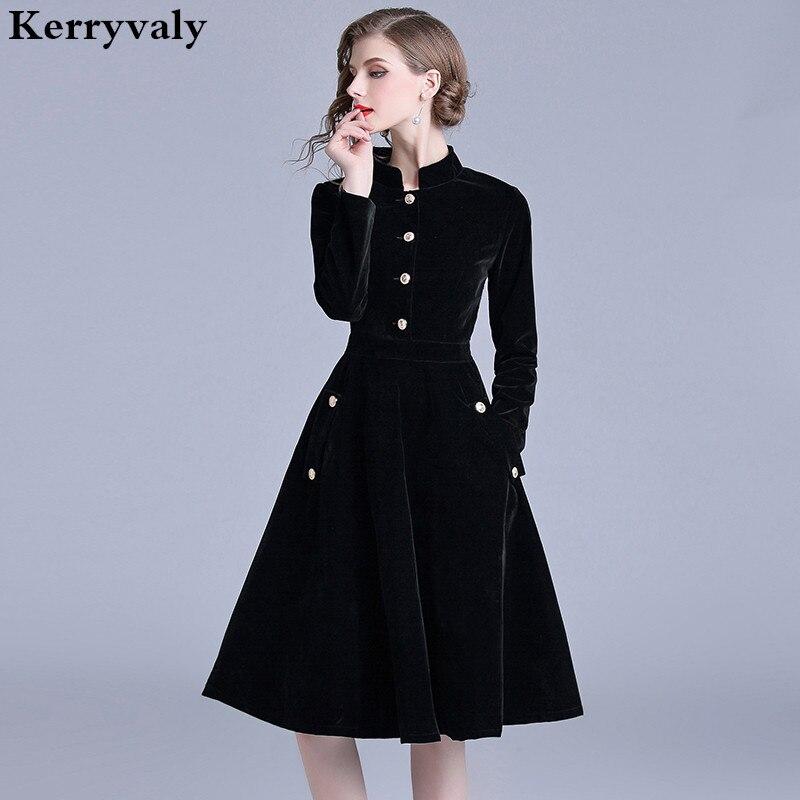 Robe Vintage velours noir bureau Robe manches longues hiver femmes robes nouveauté 2019 Midi Robe de soirée Zomer Jurk K307