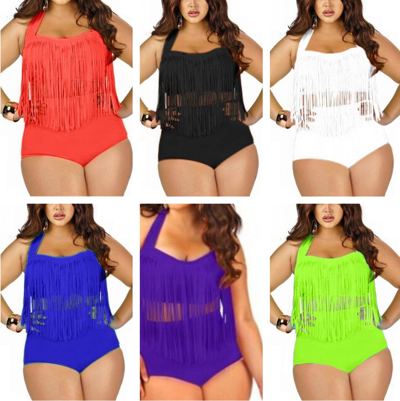 8873d634ae4d8 Plus Size Tassels Swimsuit Women Braided Fringe Two Piece Bikini Set High  Waist Push Up Padded Bathing Suits Free Shipping