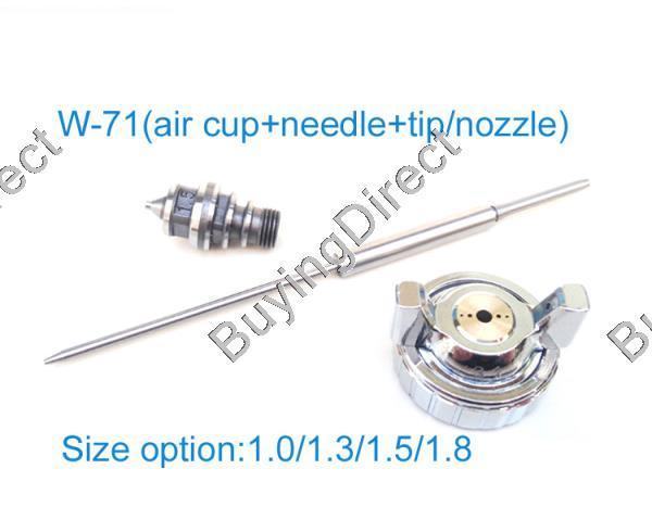цена на Free shipping painting gun parts for w-71/w-77/W-101 Spray Gun Air Cap & Nozzle & Needle set Kit Repair