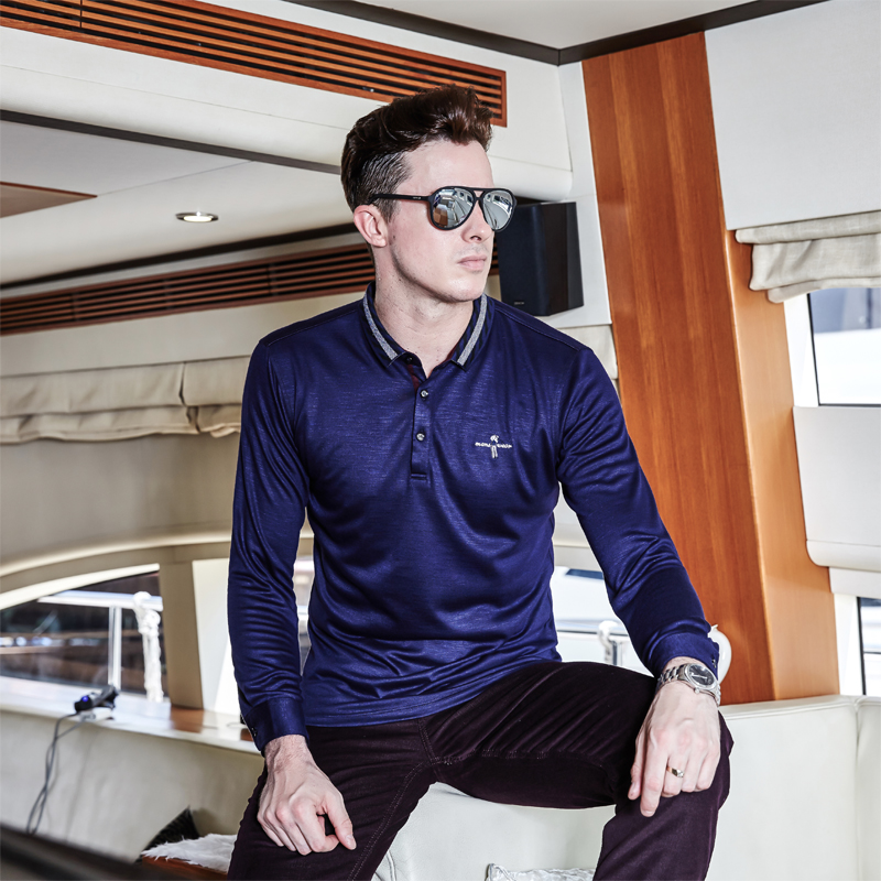 Brand   Polo   Men High Quality camisa masculina Tace & Shark Men   Polo   Shirt Long Sleeve Lapel Cotton Solid Business Casual   Polos