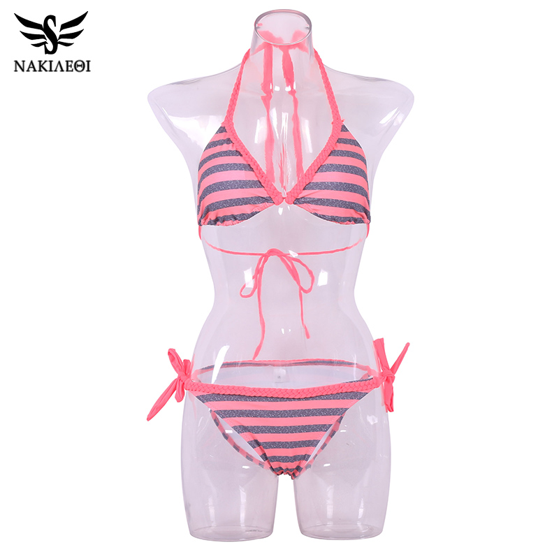 NAKIAEOI 2018 Sexy Handmade Crochet Bikinis Women Swimsuit Push Up Swimwear Brazilian Bikini Set Halter Bathing Suit Swim Wear 5