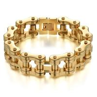 Mens Gold Bracelet For Men 17MM Wide Gold Color Stainless Steel Men S Bracelets Man Biker