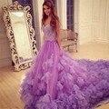 Babados Roxo Quinceanera Vestidos Capela Trem Frisado Querida vestido de Baile Para 15 Anos Vestidos Cinderela 16 Vestido de 15 años