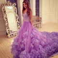 Ruffles Purple Quinceanera Dresses Chapel Train Beaded Sweetheart Prom Gown For 15 Years Vestidos 15 anos Cinderella 16 Dress