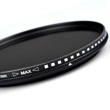 Нейтральная плотность ND фильтр Регулируемый от ND2 до ND400 Профессиональная фотография камера объектив фильтр 58/67/77 мм для Canon Nikon sony