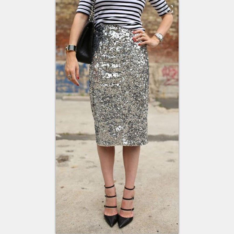 f218ae1e626b Bling Sequin Pencil Skirt 2017 Fashion Midi Skirt for Women Silver Old  Green Sequin Skirt High End Saia Custom Made Plus Size-in Skirts from  Women's ...