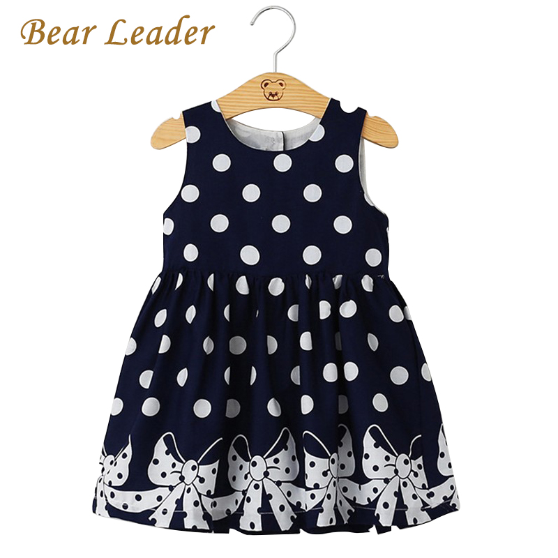 Bear Leader Brand Dress 2017 New Casual Summer Style Girls Dress Sleeveless Dot Printing Princess Dress Kids Clothes Party Dress bear leader girls dress 2016 new summer style party dress stella the swallow embroidered sleeveless dress girls princess dress