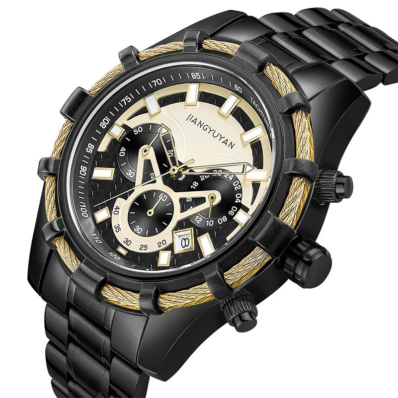 JIANGYUYAN New Brand Watch Men Business Chronograph Calendar Luminous Gold Watch Quartz Waterproof Bracelet relogio masculino цена и фото