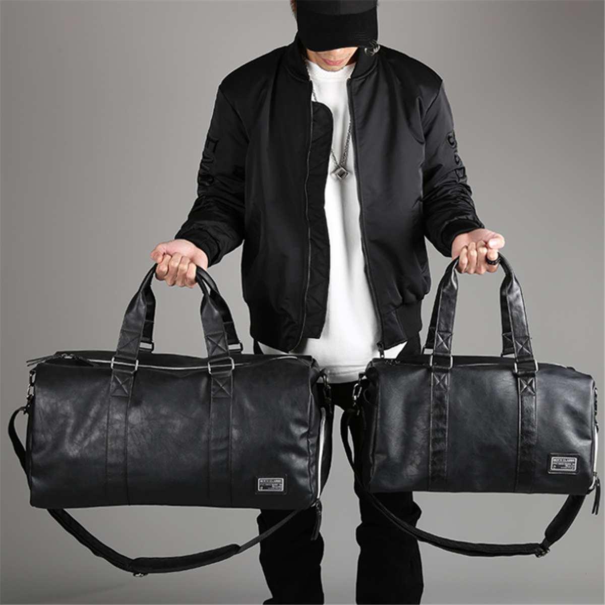 2021 New Men Travel Duffle Bags Black Waterproof PU Leather Handbags Shoulder Bag For Women Man Totes Large Capacity Weekend Bag