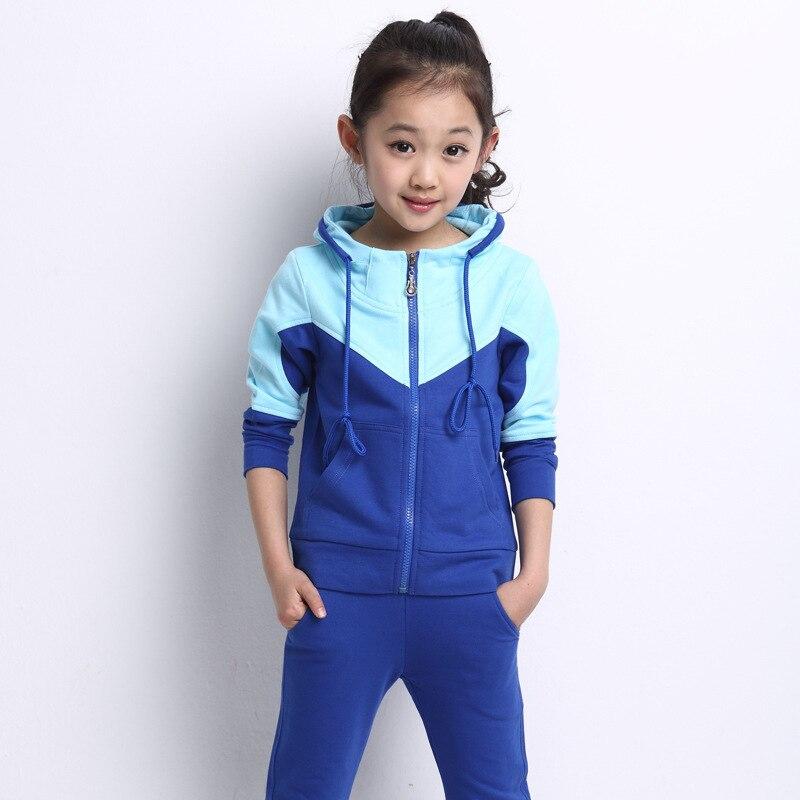 2016 Children Sets boy girl clothing sets fashion sport suits zipper coat jackets+ long pants hoodies kids two piece larger-size girl s fashion suits 100