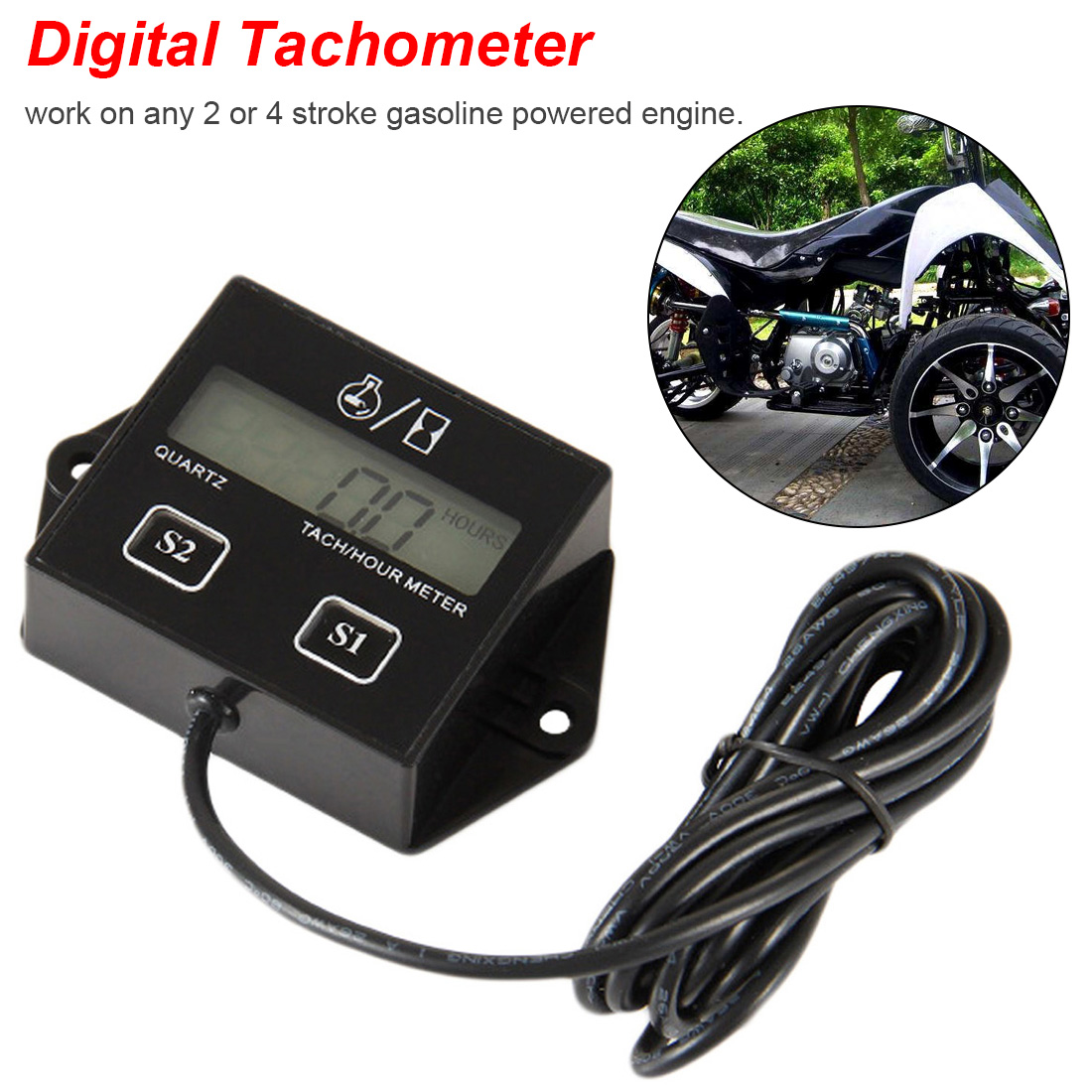 4-digit Counters Engine Tach Hour Meter Tachometer Gauge Inductive Display For Motorcycle Motor Marine chainsaw
