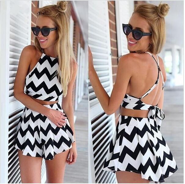 Suit Shorts Skirt Two-Piece Women's New And O-Neck Strapless None-Ankle-Length American