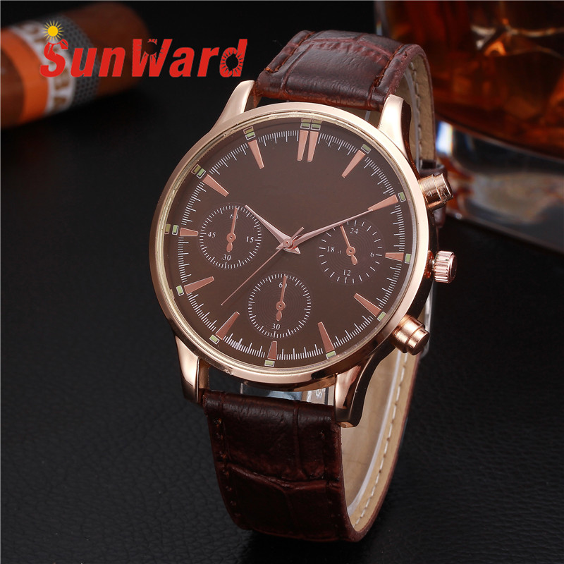 Sunward Relogio Masculino Saat Clock Women Men Retro Design Leather Band Analog Alloy Quartz Wrist Watches Horloge2017