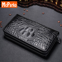 McParko men clutch bag genuine Cow leather Clutch wallet men Fashion crocodile Grain design phone bag clutches for male brown