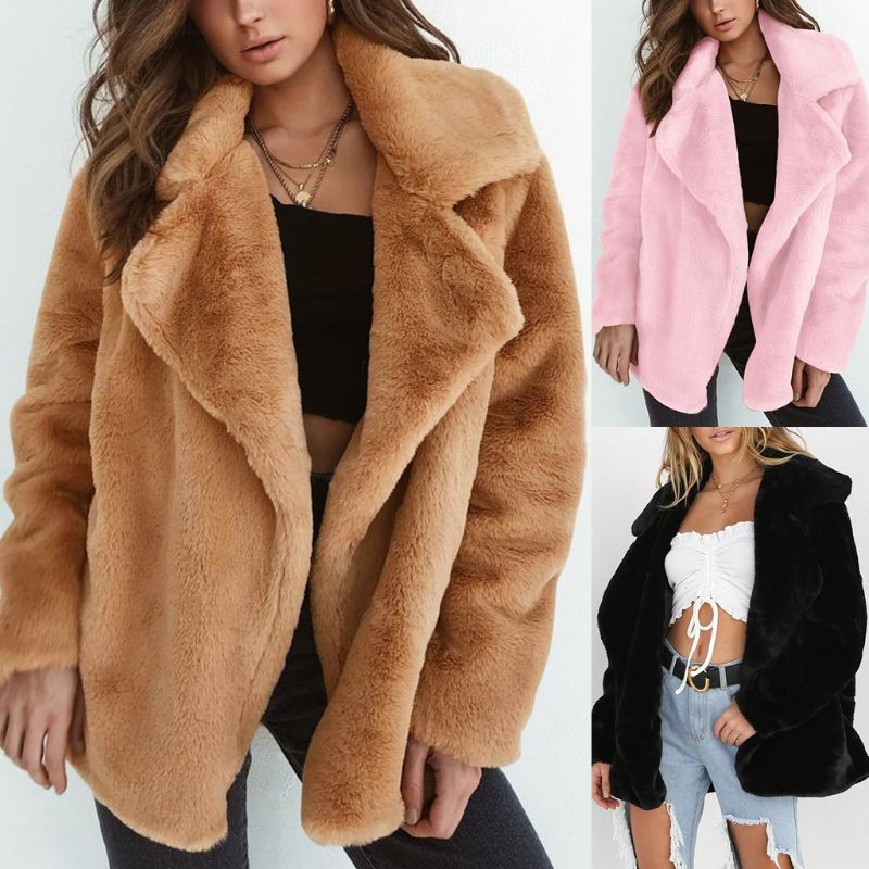 Women Open Front Faux Fur Thicken Jacketwinter coat women Lapel Solid Outwear Oversized abrigos mujer invierno 2018   parka   sexy