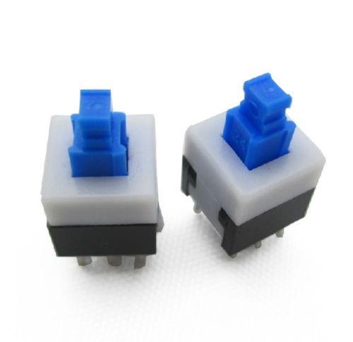 10PCS 8*8mm 8X8mm Blue Cap Self-locking Type Square Button Switch