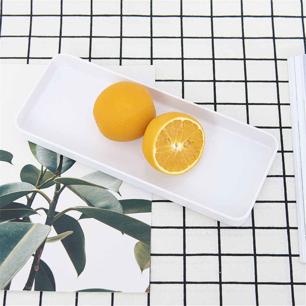 Nordic Plastik Persegi Panjang Tray Penyimpanan Sederhana Hitam Putih Kue Cangkir Teh Piring Pajangan Rapi Rumah Mandi Kosmetik Organizer Nampan