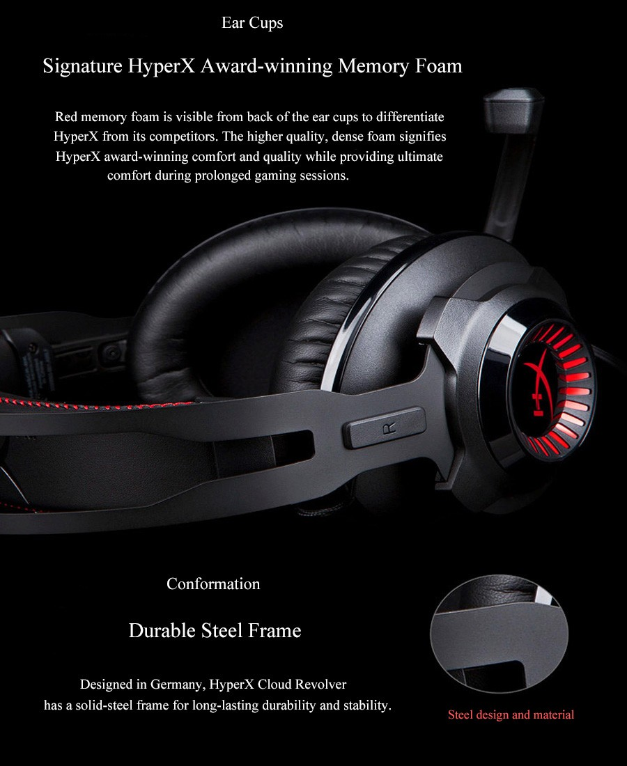 Kingston Hyperx Earphone Ecouteur Revolver S Gaming Headset with Dolby 7.1 Surround Sound 3.5mm Microphone for PC PS4 Xbox One S