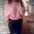 Winter Pullover Bat Sleeve Loose Off Shoulder Sweater Women Pull Femme Sexy Sweaters Jumper Tops Lace Up Sweater Pullovers C2692