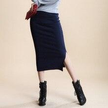 Women Solid Elegant Sexy Split Slim Skirts Hight Waist Kintting Cotton Ladies Summer Skirts Mid-Calf Bodycon Pencil Skirt Saia