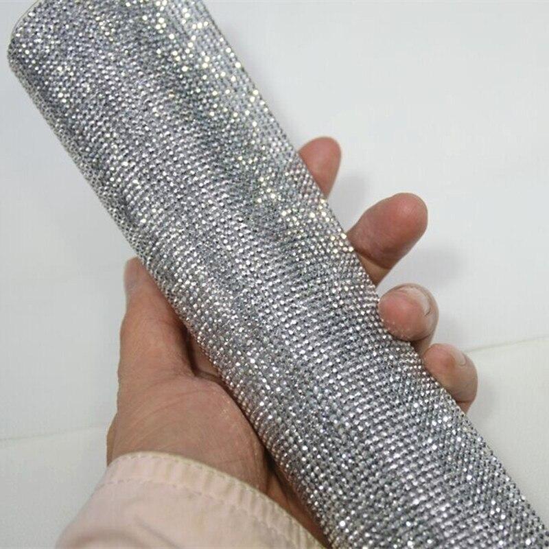 2mm argent hématite flatbackRhinestone Garniture De Perles Diamant Maille Correctif ou auto-ADHÉSIF rouleau strass Applique Baguage pour Decorat